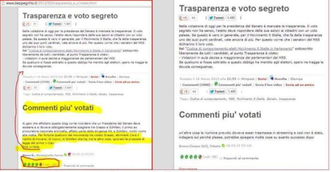 Grillo commento censurato