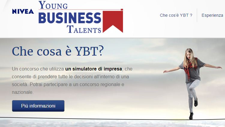 La home page di Youngbusinesstalents.com