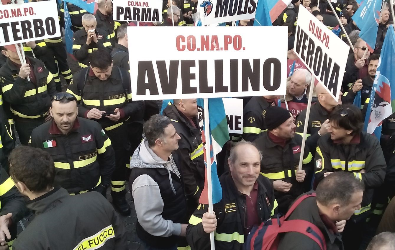 Vigili del fuoco protesta Roma 2