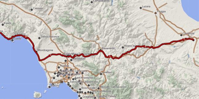 Il percorso dell'Appia Antica in Campania
