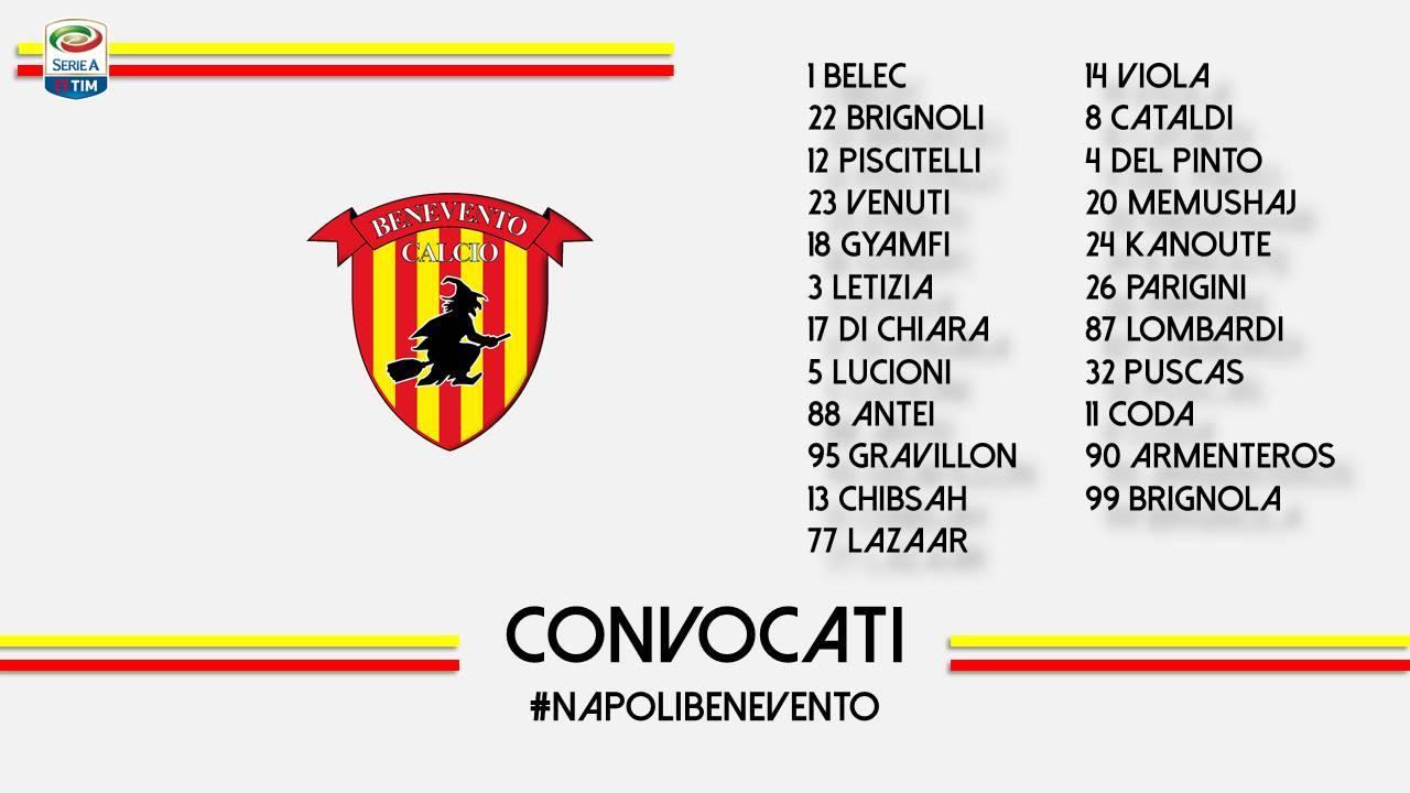 I convocati di Baroni (fonte: pagina Fb Benevento Calcio)