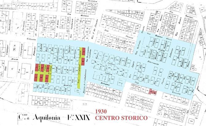 In rosso, nella planimetria, le sei abitazioni al centro della discussione
